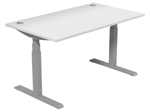 Electric Height Adjustable Desk 1400 * 800 mm White Top Silver Legs