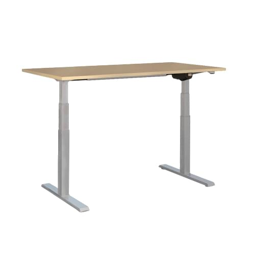 LEAP Electric Height Adjustable Desk W1600 x D800 x H630-1230 Beech Top Silver Legs
