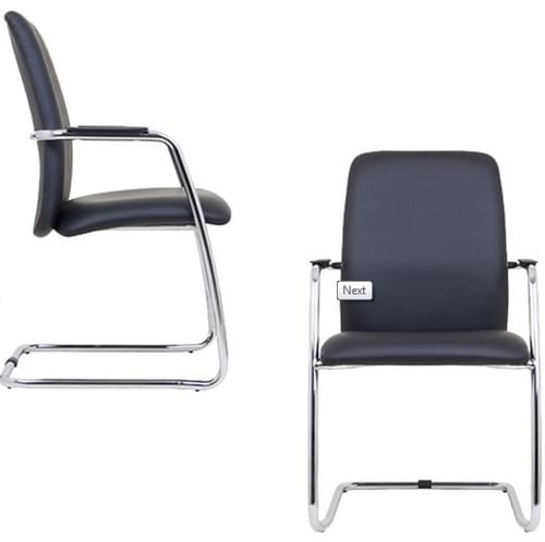 OQ2 Leather High Back Meeting/Conference Chair sled chrome base
