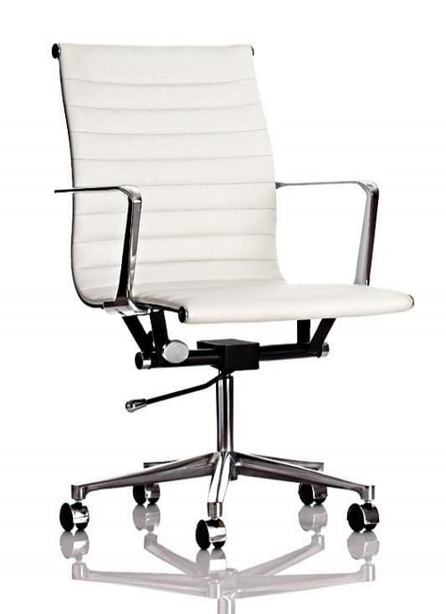Blade White Leather Look Office Chair