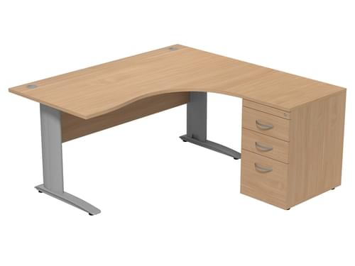 Komo Right hand Radial Desk With Pedestal 1600 x 1600mm Cantilever Legs - Beech