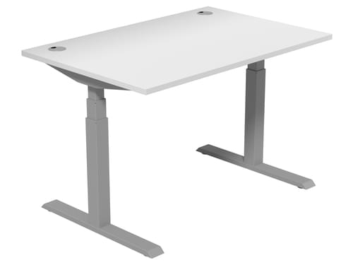 Electric Height Adjustable Desk 1200 * 800 mm White Top Silver Legs