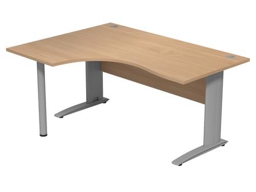 Komo 1600mm Left Hand Radial Desk With Pole Leg - Beech