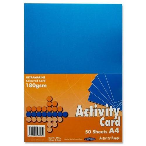 A4 160gsm Card 50 Sheets - Ultramarine Blue
