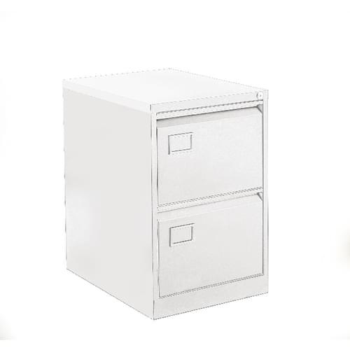 Bisley 2 Drawer Lockable Metal Filing Cabinet Chalk White