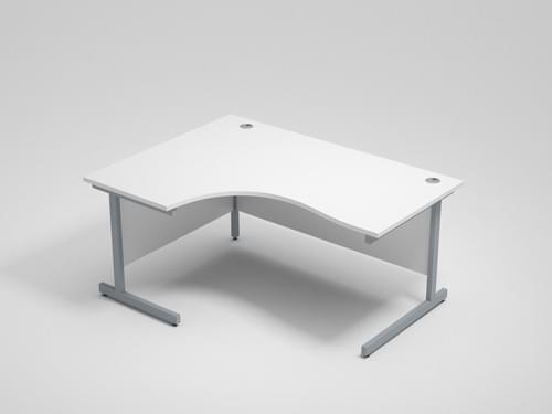 White Left Hand Radial Desk 1600mm x 1200mm