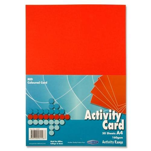 A4 160gsm ACTIVITY CARD 50 SHEETS - RED