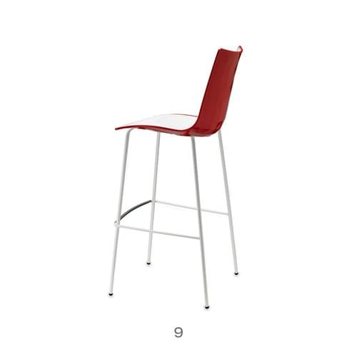 Zebra Bicolore Bar Stool With H650mm Chrome Base White/Red (Set of 2 Stools)