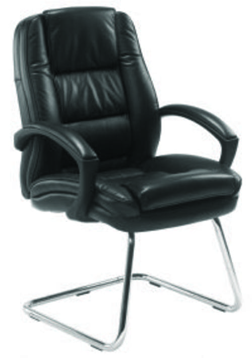 COLORADO VISITOR CHAIR BLACK Leather Faced