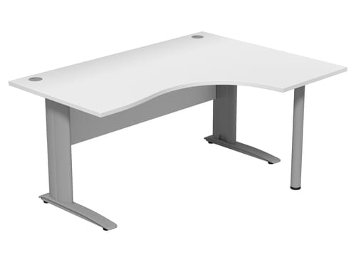 Komo 1600mm Right Hand Radial Desk with Cantilever Legs - White