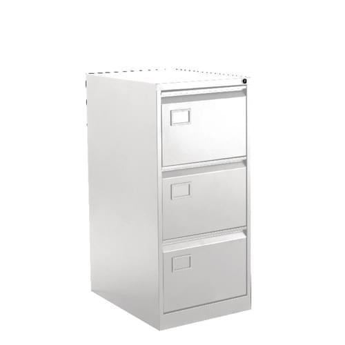Bisley 3 Drawer Executive Lockable Metal Filing Cabinet Chalk White