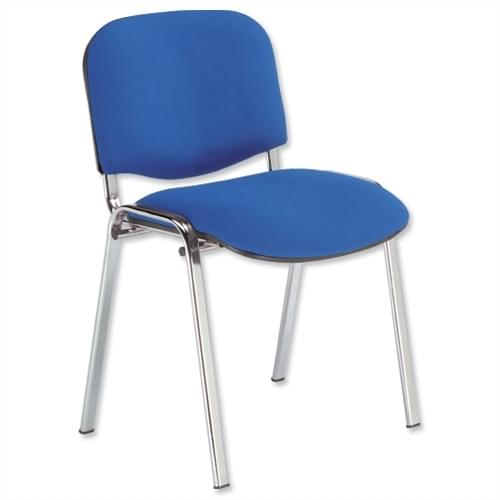 Blue Fabric Stackable Conference Chair Chrome Frame