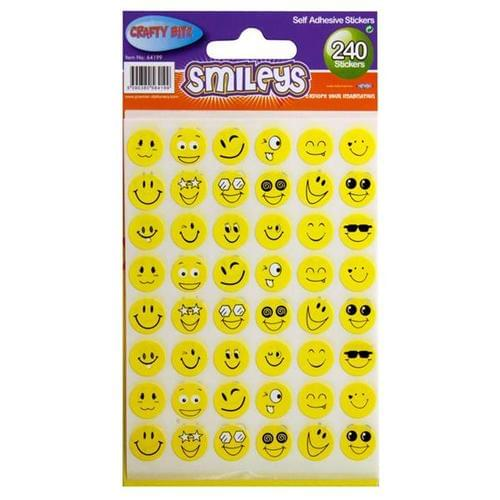 CRAFTY BITZ STICKERS - SMILEYS (Pack of 240)