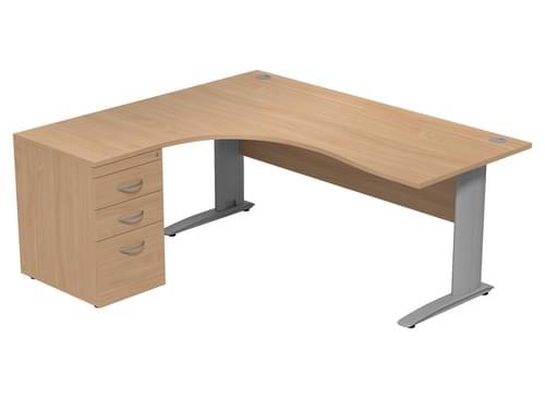 Komo Left hand Radial Desk With Pedestal 1600 x 1600mm Cantilever Legs - Beech