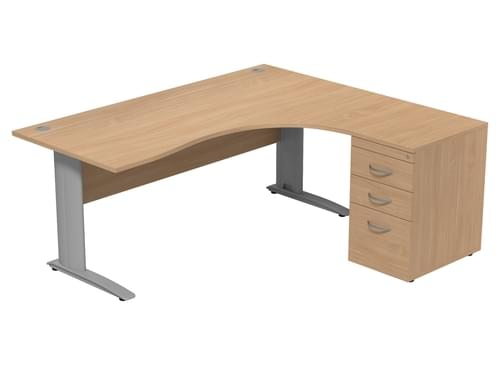 Komo right hand Radial Desk With Ped 1800 x 1600mm Cantilever Legs Beech