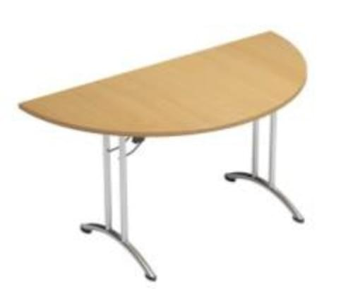 Folding Table Semi Circular Chrome Legs 25mm Top W1500xD750xH725mm Beech