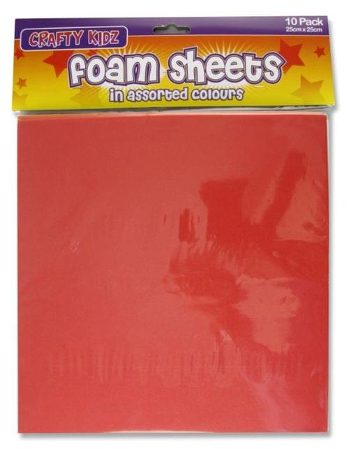 Foam Sheets Assorted Colours (25x25cm) Pack of 10