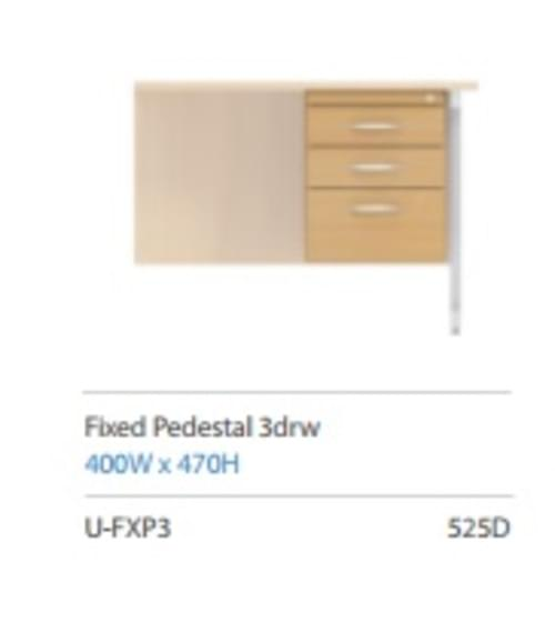 Fixed 3 Drawer Pedestal