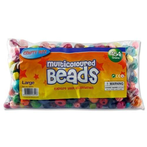 WOODEN MULTICOLOURED BEADS - LARGE Bag 454g