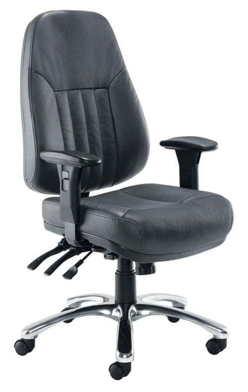 Avior 24-Hour Heavy Duty Leather Chair Black CH1101