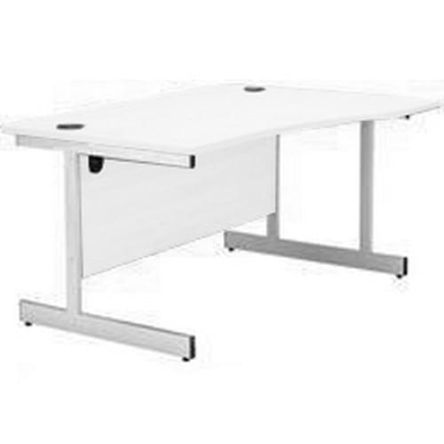 Wave Workstation 1600mm Right Hand - White