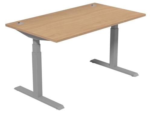 Electric Height Adjustable Desk 1400 * 800 mm Beech Top Silver Legs