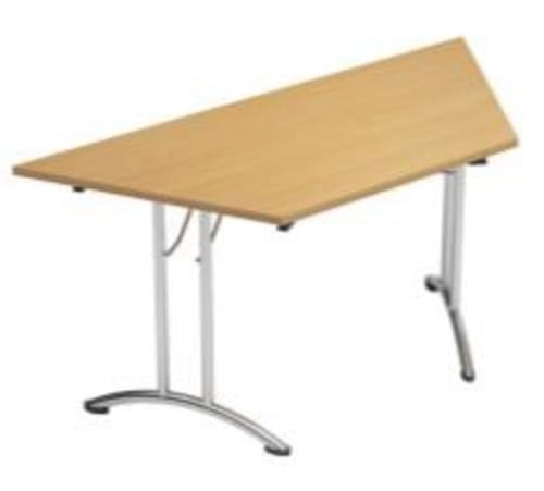 Folding Table Trapezoidal Chrome Legs 25mm Top W1500xD750xH725mm Beech