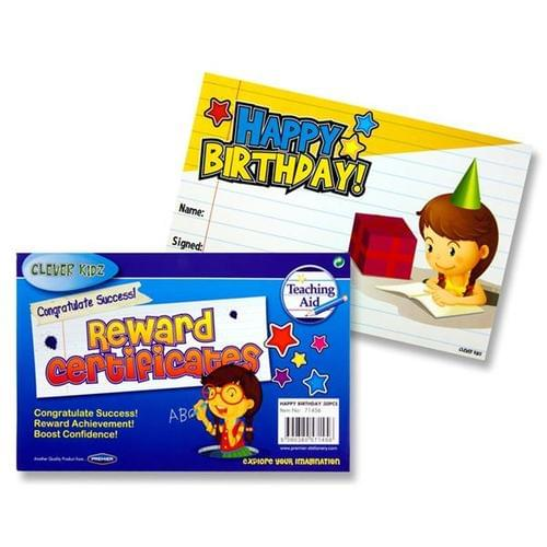 REWARD CERTIFICATES - HAPPY BIRTHDAY (Pack of 30)
