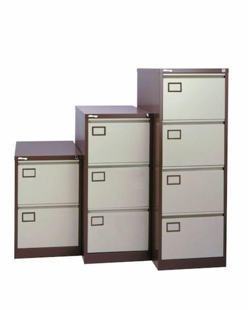 4 Drawer Lockable Filing Cabinet Coffee & Cream