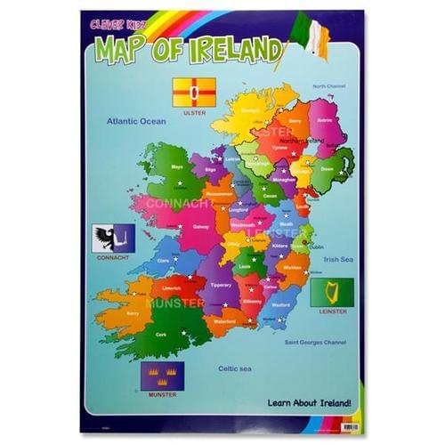 Map Counties Of Ireland.Wall Chart Map Counties Of Ireland