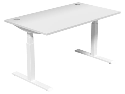 Electric Height Adjustable Desk 1400 * 800 mm White Top White Legs