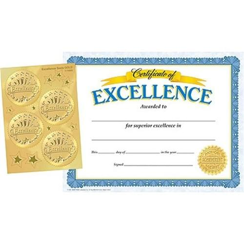 Certificates & Award Seals Combo Pack - Excellence (Pack of 30)