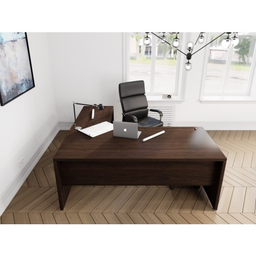 Fermo Executive Desk with Return 1600w 1900w x 900D 550D x 740H - Dark Walnut