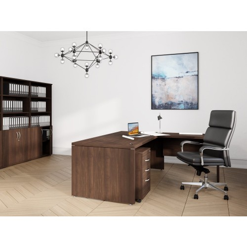 Fermo Executive Desk with Return 1900w 1900w x 900D 550D x 740H Dark Walnut