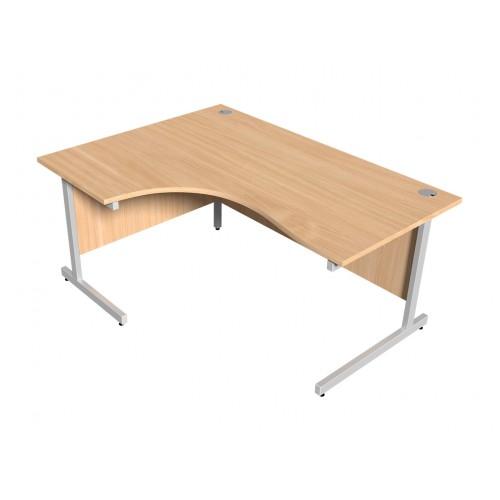 Beech Left Hand Radial Desk 1600mm x 1200mm