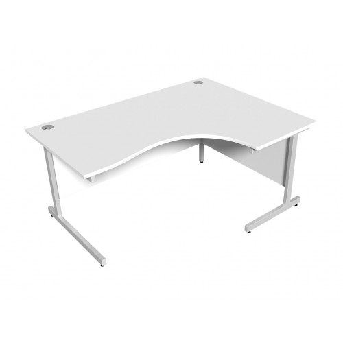 White Right Hand Radial Desk 1600mm x 1200mm