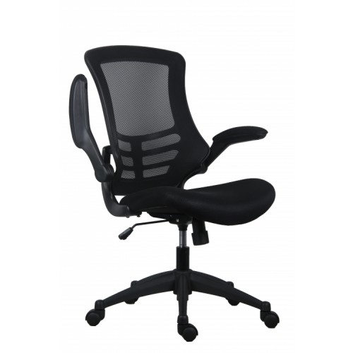 Black Marlos Mesh Operator Office Chair with Folding Arms CH0790