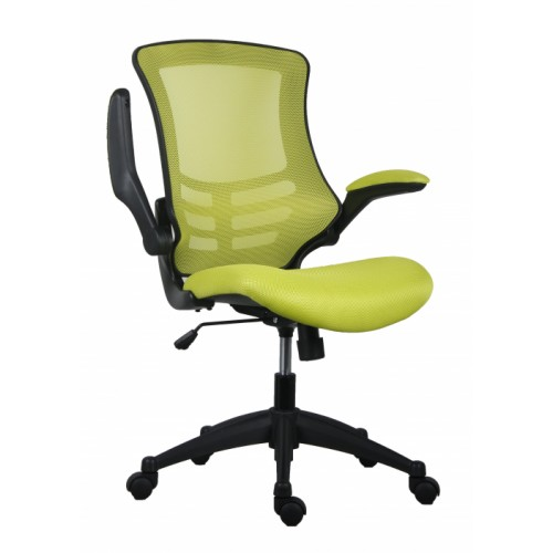 Green Marlos Mesh Operator Office Chair with Folding Arms