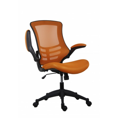 Orange Marlos Mesh Operator Office Chair with Folding Arms