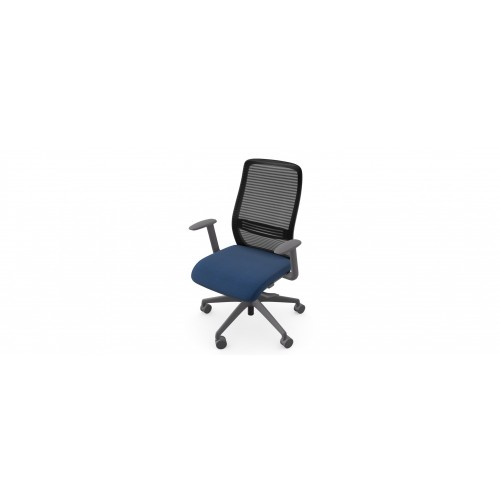 NV High Back Swivel Mesh Chair Grey Frame with adjustable arms - Dark Blue