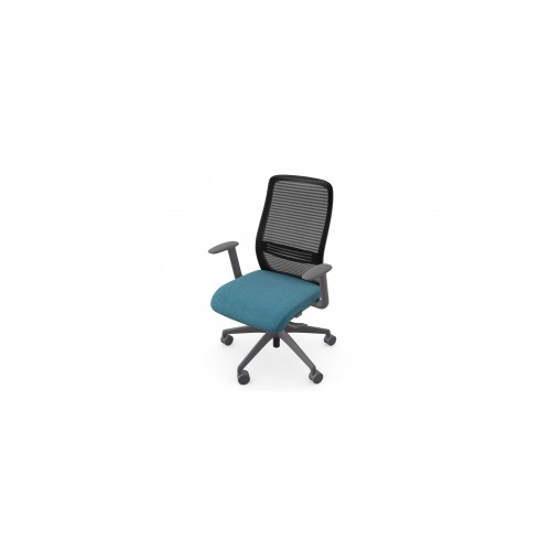 NV High Back Swivel Mesh Chair Grey Frame with adjustable arms - Teal