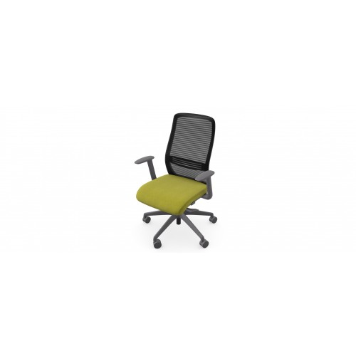 NV High Back Swivel Mesh Chair Grey Frame with adjustable arms - Light Green