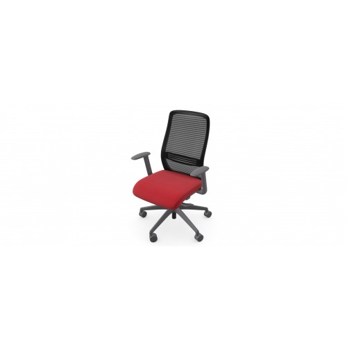 NV High Back Swivel Mesh Chair Grey Frame with adjustable arms - Red