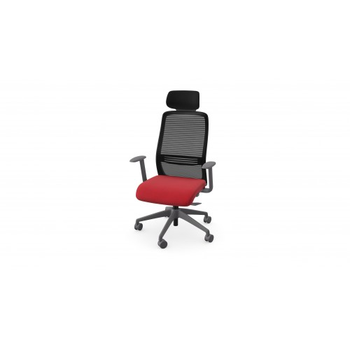 NV High Back Swivel Mesh Chair Grey Frame with adjustable arms & Headrest - Red