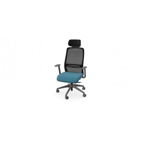 NV High Back Swivel Mesh Chair Grey Frame with adjustable arms & Headrest - Teal