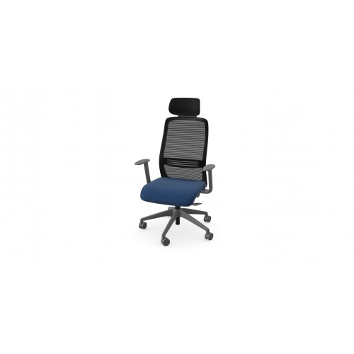 NV High Back Swivel Mesh Chair Grey Frame with adjustable arms & Headrest - Dark blue