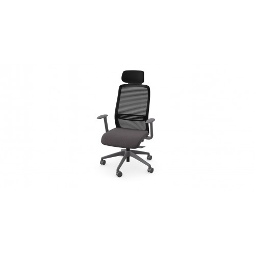 NV High Back Swivel Mesh Chair Grey Frame with adjustable arms & Headrest - Dark Grey