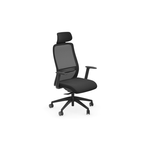 NV High Back Swivel Mesh Chair Black Frame with adjustable arms & Headrest - Black