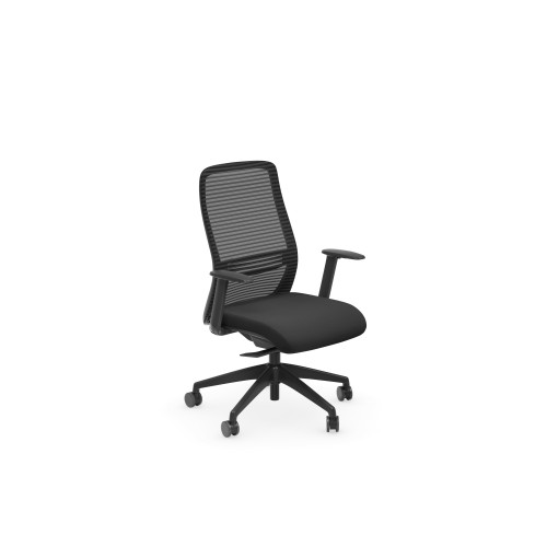 NV High Back Swivel Mesh Chair Black Frame with adjustable arms - Black