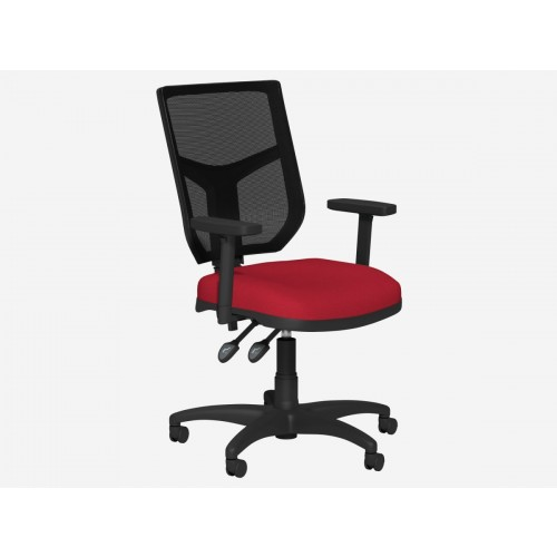 High Back Mesh Chair Red Seat  with Adjustable Arms